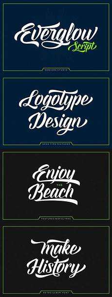 Bold Fonts For Logos Everglow Script Is A Retro Script Font Bold Classic And