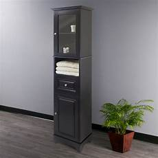winsome wood alps cabinet with glass door black