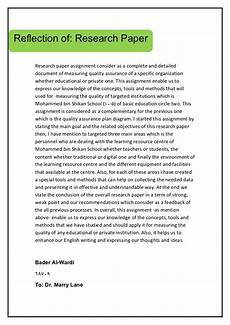Reserach Paper Research Paper Reflection