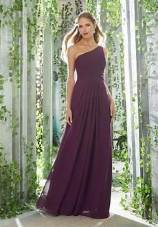 one shoulder chiffon bridesmaid dress with draped bodice