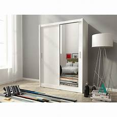 2 doors mirrored bedroom wardrobe white wood with