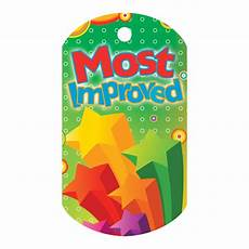 Most Improved Award Most Improved Laminated Award Tag With 4 Quot Chain Positive