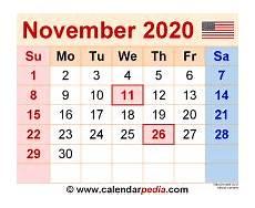 Calendar Month November 2020 November 2020 Calendar Templates For Word Excel And Pdf