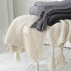 thread blanket with tassel solid beige grey coffee throw