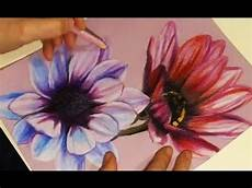 Drawings Of A Flower Speed Drawing Painting Two Flowers With Colored Pencils