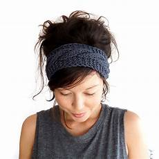cable knit headband in charcoal grey 100 merino wool