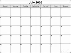 2015 2020 Monthly Calendar July 2020 Calendar Free Printable Monthly Calendars