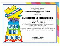 Certificate Of Recognition For Honor Students Download Template 3