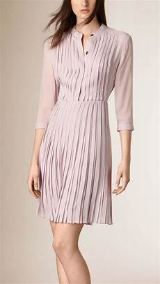 lyst burberry pleated silk dress in pink