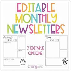 Monthly Newsletter Templates Editable Monthly Newsletter Template By Dotorganized Tpt