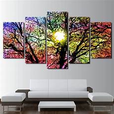 5 colorful sun tree poster canvas painting home