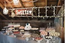 cocoa fig barn wedding mini dessert table and 2 tier