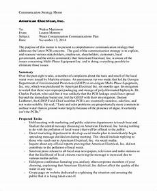 Strategy Memo Example Communication Strategy Memo