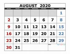 August 2020 Calendar With Holidays August 2020 Printable Calendar Template Excel Pdf Image