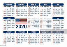 2020 Calendar Holidays Usa 2020 Calendar Usa Flag And Holidays Starting Sunday Vector
