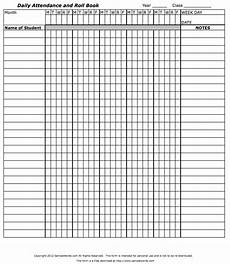 Blank Attendance Sheet For Teachers Teacher S Attendance And Roll Book Classroom Attendance