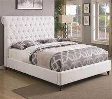 300526 upholstered bed in white fabric by coaster