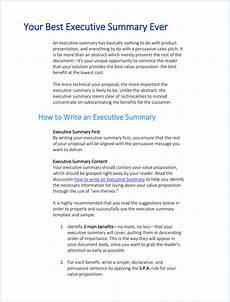 Executive Brief Template Writing Executive Summary Template Executive Summary