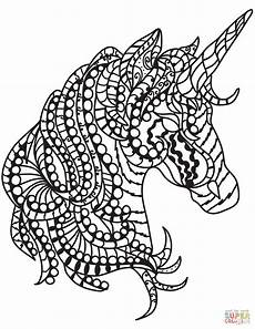 unicorn zentangle coloring page free printable
