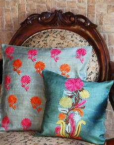 silk pillow covers in tones traditional indian