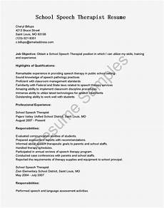 Speech Therapist Resume Resume Samples School Speech Therapist Resume