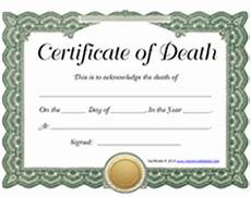 Death Certificate Print Out Free Printable Blank Certificate Of Death