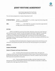 Joint Venture Contract Joint Venture Agreement Property Ownership Templates At
