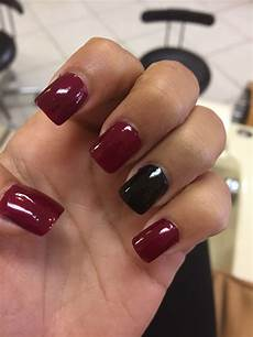 Burgundy And Black Nail Designs Maroon And Black Acrylic Nails In 2019 Black Acrylic