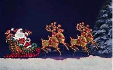 Lighted Santa Sleigh And Reindeer Outdoor Lighted Santa In His Sleigh Amp 4 Reindeer Christmas Holiday