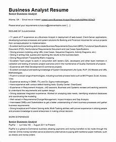 Example Of Business Resume Business Analyst Resume Template 15 Free Samples