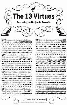 Benjamin Franklin Virtues Chart Benjamin Franklin S 13 Virtues Better Living Pinterest