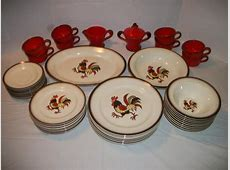 44 Pieces of METLOX POPPYTRAIL Red Rooster Dinnerware Service