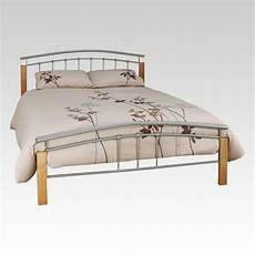tetras beech and silver king size metal bed frame from