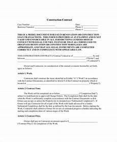 Contractor Contract Sample Free 6 Sample Construction Agreement Forms In Pdf Ms Word