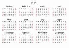 One Year Calendar 2020 2020 Yearly Calendar Free Download Jpg Format