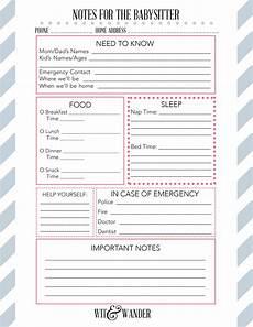 Babysitter Notes Template Printable Babysitter Notes Diy Babysitter S Box Wit