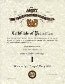 Officer Promotion Certificate Template Army Promotions Certificates