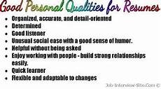 Characteristics For Resume Good Personal Qualities List Of Personal Qualities For
