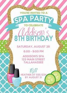 Spa Party Invitation Wording Spa Birthday Invitation Spa Party Invitation Sleepover