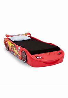 disney cars lightning mcqueen toddler car bed with headlights