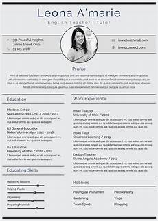 Cv Format In English Free English Teacher Resume Cv Template In Photoshop Psd