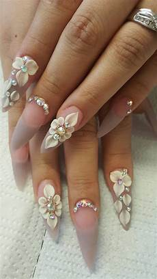 Acrylic Nails With Flower Design Theodora Nails In 2019 Wedding Nails Design 3d Nail
