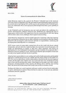 Athlete Letter Of Recommendation Letter Of Recommendation For Adam Horne