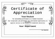 Certificate Of Appreciation Examples Certificate Of Appreciation For Students Printable