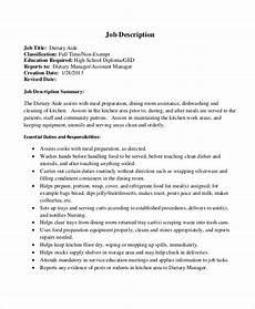 Dietary Aide Job Description Free 9 Sample Dietary Aide Job Description Templates In Pdf