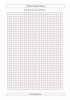 1 Square Per Inch Graph Paper 1 4 Inch Graph Paper With Red Lines A4 Size Red