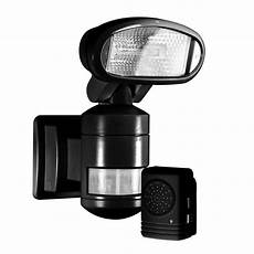 Solar Motion Sensor Light With Alarm Nightwatcher Security 220 Degree Outdoor Black Motorized