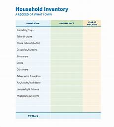 Household Inventory Template Free 8 Home Inventory Templates In Pdf