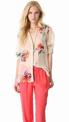 joie silk blouse layering joie devitri silk blouse in pink lyst