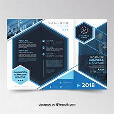 Tri Fold Poster Templates Modern Blue Trifold Brochure Template Free Vector